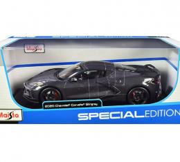 Maisto Special Edition 2020 C8 Corvette 1/18 Diecast | Grey with Racing Stripes