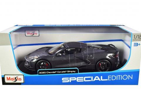Maisto Special Edition 2020 C8 Corvette 1/18 Diecast | Grey with Racing Stripes