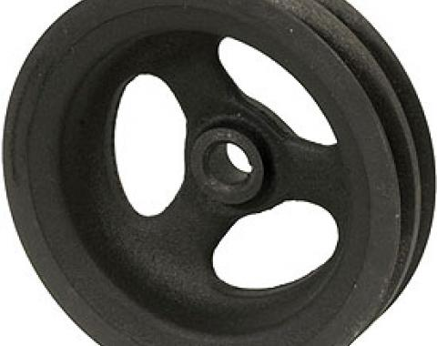 Corvette Power Steering Pump Pulley, 2 Groove Cast Iron, With Big Block, 1966-1974