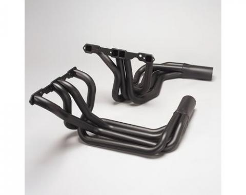 Corvette Hooker Super Competition Sidemount Headers Small Block, Black, 1968-1982
