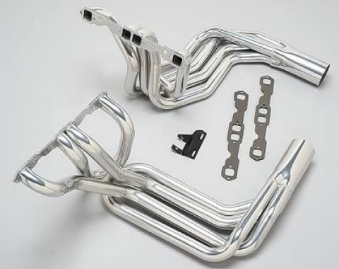 Corvette Hooker Super Competition Sidemount Headers Small Block, Chrome, 1968-1982