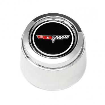 Corvette Wheel Center Cap, Chrome, With Emblem, For Cars With Aluminum Wheels, 1980-1981