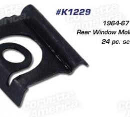 Corvette Rear Window Molding Clips, Coupe 24 Piece Set, 1964-1967