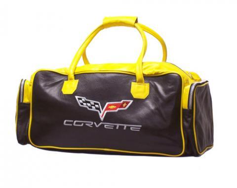 "Corvette Black & Yellow Duffle Bag, with C6 Logo, 24"""