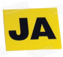 """Corvette Decal, Valve Cover Eng Code """"Ja"""", 1967"""