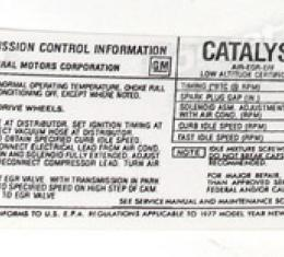Corvette Decal, Emission L48 California, 1977