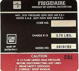 Corvette Decal, Air Conditioning Compressor Frigidaire, 1971