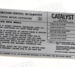 Corvette Decal, Emission L82, 1978