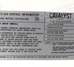Corvette Decal, Emission L48, 1978