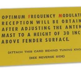 Corvette Card, FM Radio Antenna 63E Mar-Apr, 1963