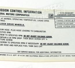 Corvette Decal, Emission 454/425 HP, 1971