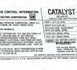 Corvette Decal, Emission L82, 1977