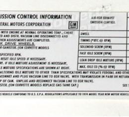 Corvette Decal, Emission 454, 1974