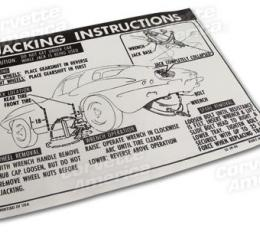 Corvette Decal, Jacking Instructions with 36 Gallon Tank, 1963-1966