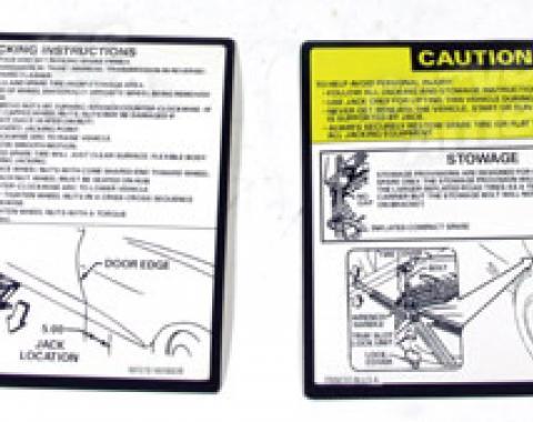 Corvette Instructions, Jacking 2 Piece Set, 1979-1981