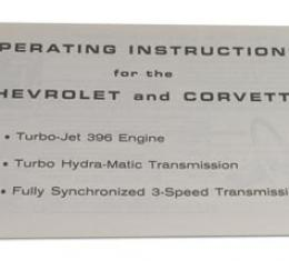 Corvette Insert, Owners Manual 396 Engine, 1965
