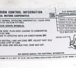 Corvette Decal, Emission 454/365 HP, 1971