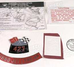 Corvette Decal Set, 390HP with Steel Wheels 6 Piece, 1966