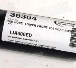 Corvette Rad Hose, Lower Front 454 with Air Conditioning #928, 1970-1973