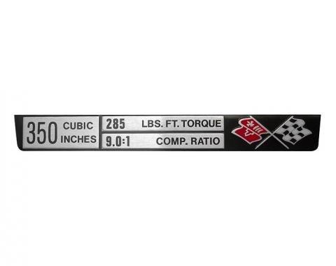 Trim Parts Corvette Engine Data Plate, 350/285/9,0:1, Each 5917