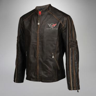 Mens C5 GS Racer Featherweight Regular Leather Jacket   2XL