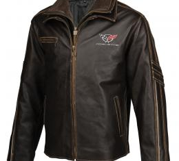 Mens C5 GS Racer Heavyweight Extra Long Leather Jacket   2X