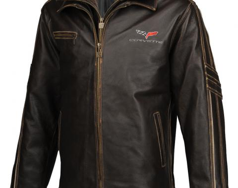 Mens C6 GS Racer Heavyweight Extra Long Leather Jacket | 2XL