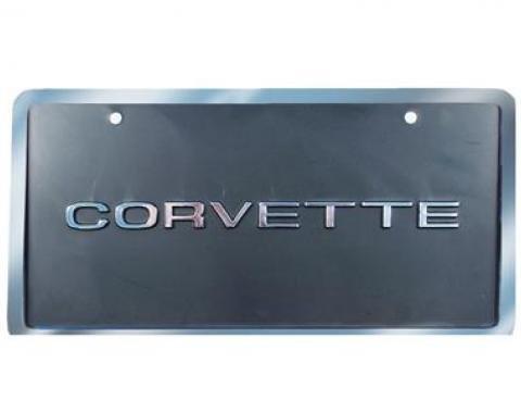 Corvette License Plate, Corvette Black & Silver with Border, 1953-1979
