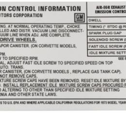 Corvette Decal, Emission L48 Federal, 1973
