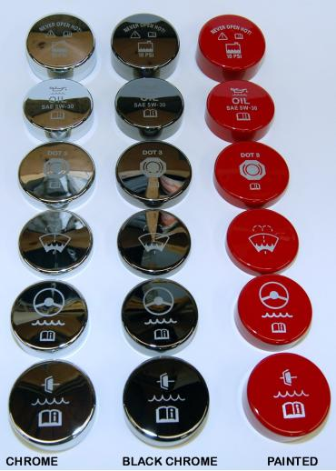 Corvette Engine Cap Cover Kit, Black Chrome, Etched, For Cars With 6-Speed Manual Transmission, 2005-2013