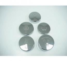 Corvette Engine Cap Cover Kit, Billet Aluminum, Etched, Chrome, For Cars With Automatic Transmission, 2005-2013