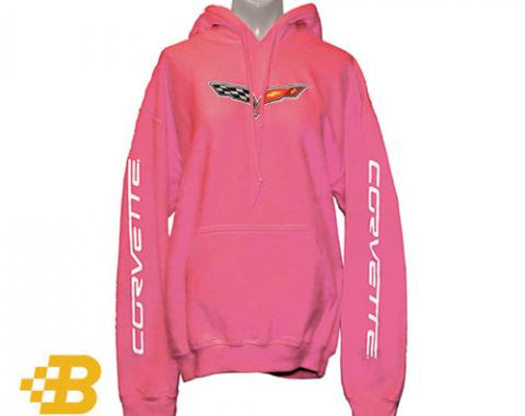 C6 Corvette Pink Hooded Sweatshirt with Sleeve Print