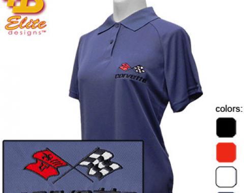 C3 Corvette Emblem Ladies Performance Polo Shirt, White, X-Large