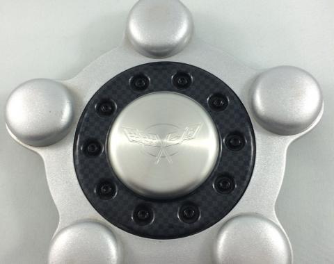 Corvette Wheel Center Cap, Black and Silver, USED 1997-1999