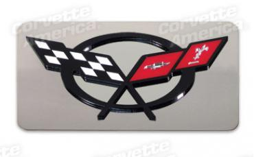 Corvette Exhaust Plate, with C5 Emblem Stainless Steel, 1997-2004