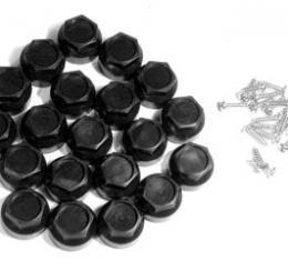 Corvette Wheel Lugnut Cap Kit, Black, 1984-1985 & 1997-1999