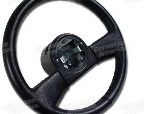 Corvette Steering Wheel, Black New Reproduction, 1984-1989