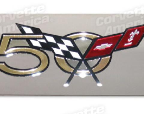 Corvette Exhaust Plate, 50th Emblem Stainless Steel, 2003