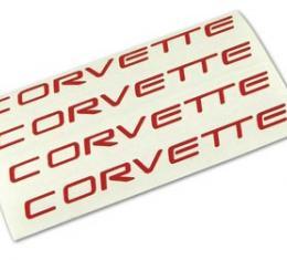 Corvette Wheel Spoke Decal Set, Corvette Red, 2000-2004