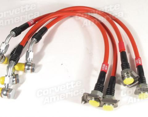 Corvette Brake Line Kit, Braided Ss Red, 1997-2004