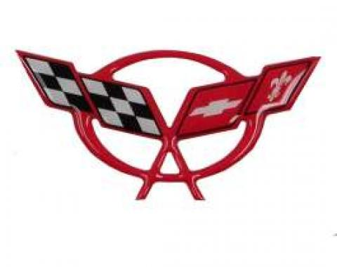 Corvette C5 Torch Red Air Bridge 3D Domed Logo Decal, 1997-2004