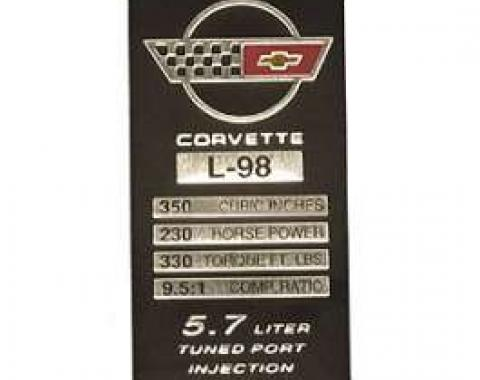Corvette Console Performance Specificatons Plate, L98 With Cast Iron Heads, 1986