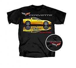 Corvette T-Shirt, C6/C6R, With Yellow Reflection, Black