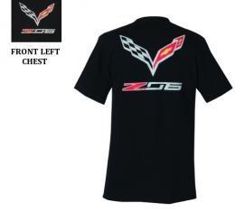 Corvette Z06 With Flags T-Shirt, Black