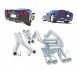Corvette Exhaust System, Borla, Sport S-Type Series, With Quad Round Tips, 2005-2008