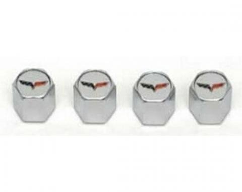 Corvette C6 Logo Valve Stem Caps, Chrome