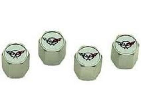 Corvette C5 Logo Valve Stem Caps, Chrome