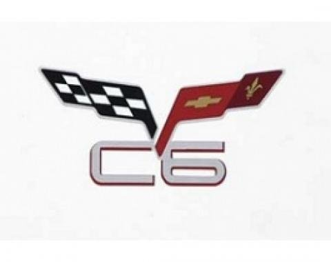 """Corvette C6 & Crossed-Flags Decal, 3"""" Wide x 1-1/2"""" High, 2005-2013"""