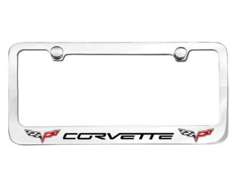Corvette Elite License Frame, 05-13 Corvette Word with Dual Logo
