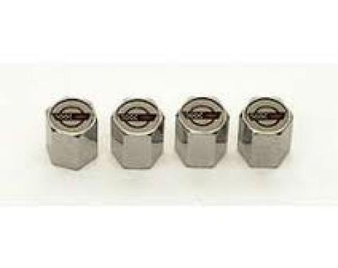 Corvette C4 Logo Valve Stem Caps, Chrome